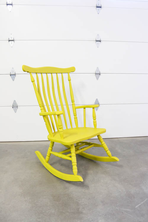 yellow painted rocking chair