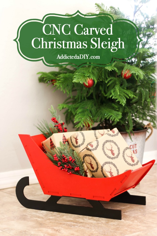 wooden Christmas sleigh pin