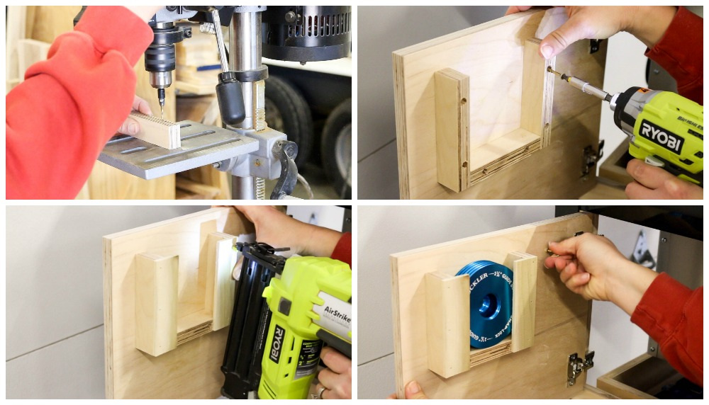 Installing organizers and holders in doors of router table