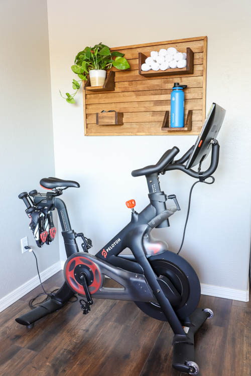 Peloton bike with wall organization