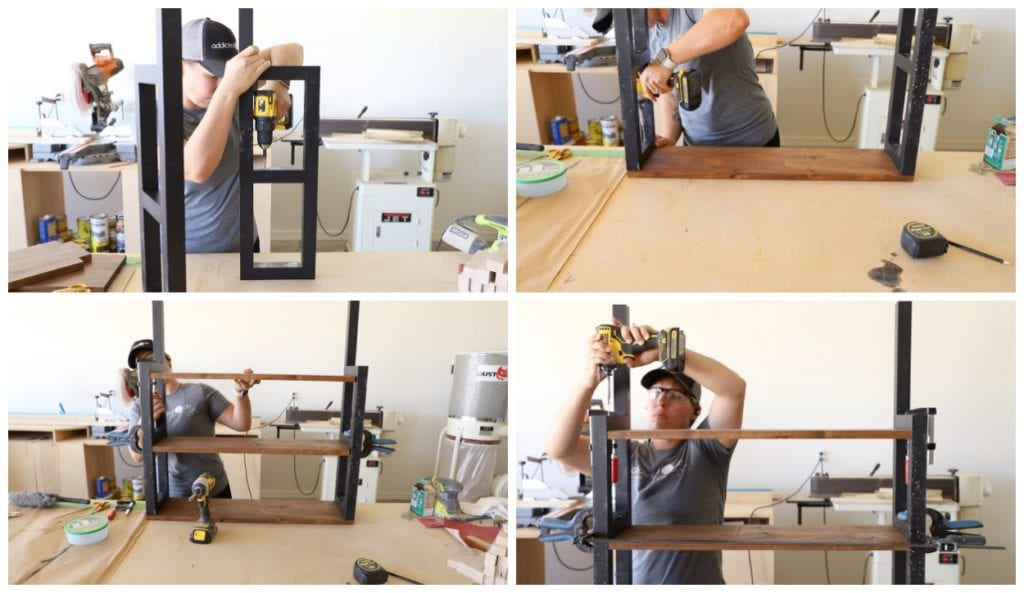 Attaching shelves to frame