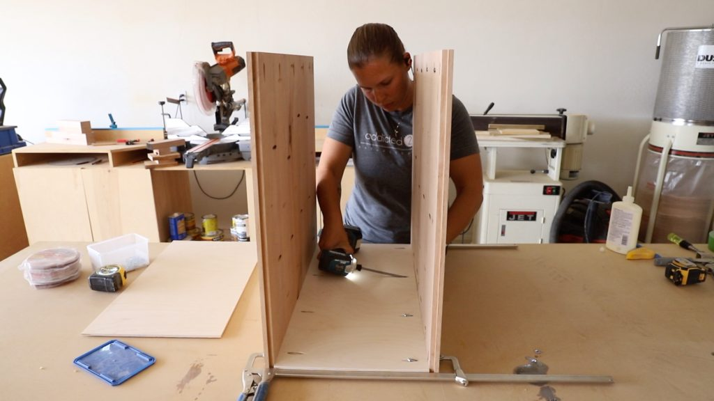 assembling the desk cabinet