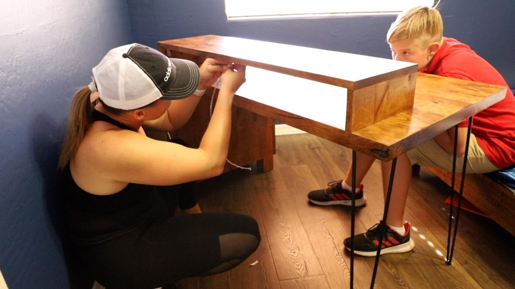 installing the led lights on the desk