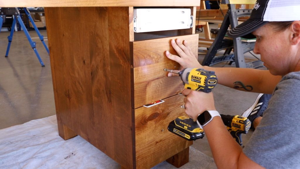 installing the drawer fronts