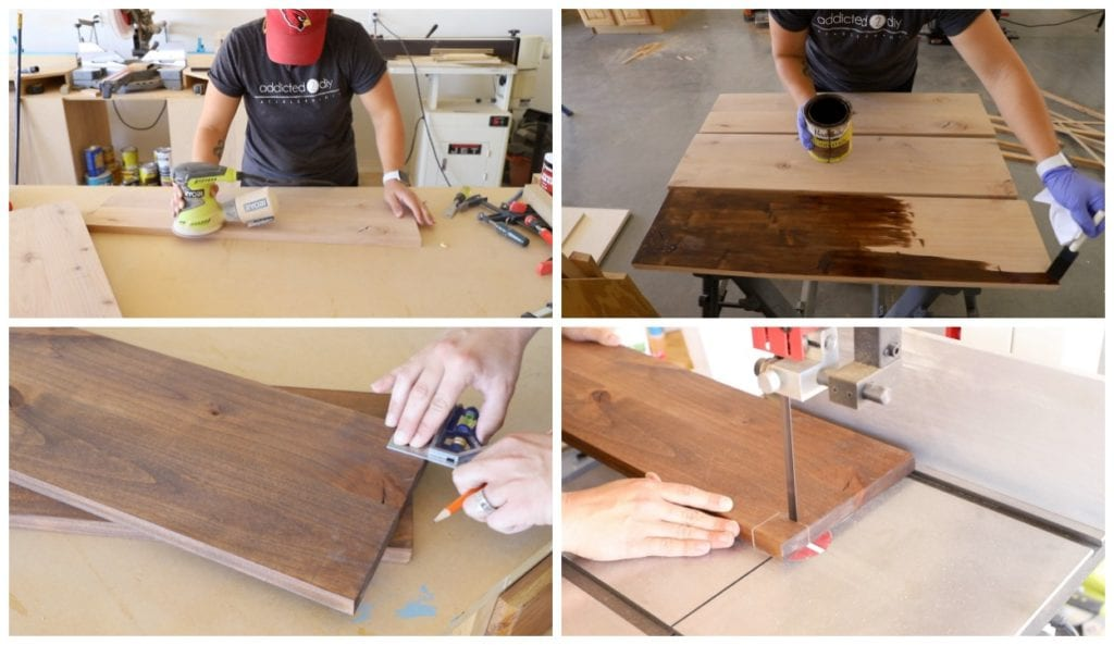 Sanding and staining shelves