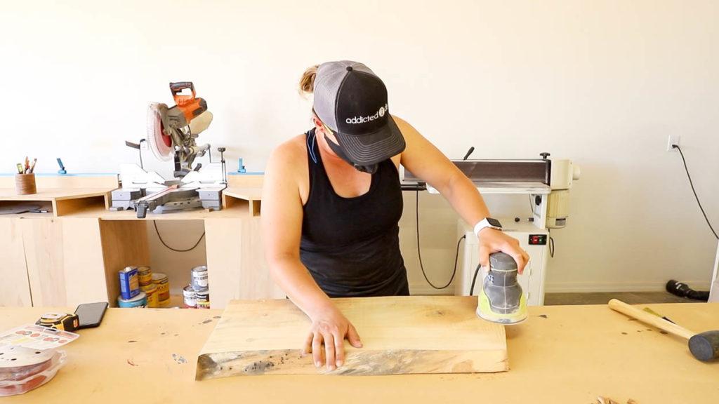 sanding down a live edge slab