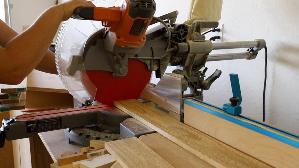 cutting cedar on miter saw