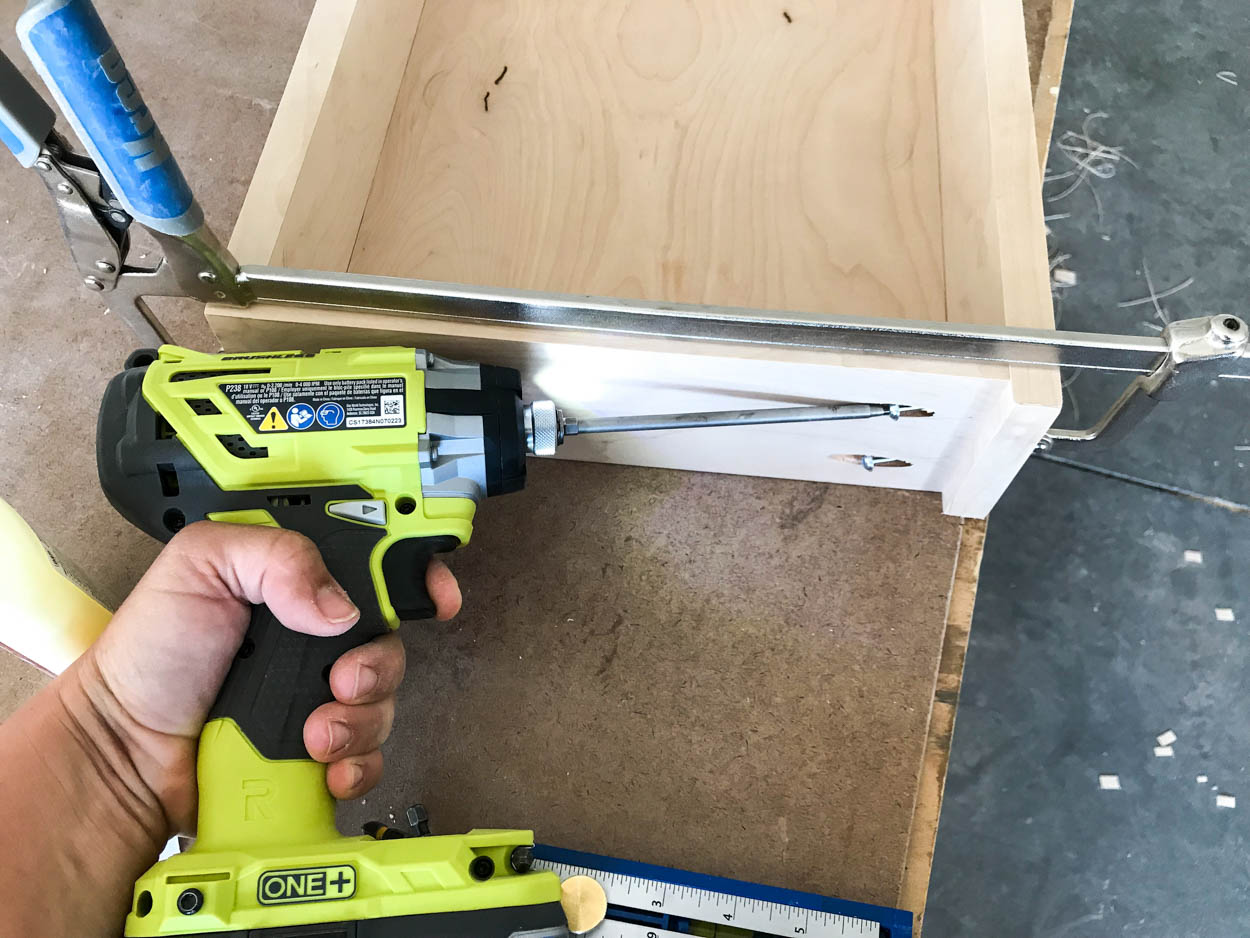attaching drawer front to drawer with screws