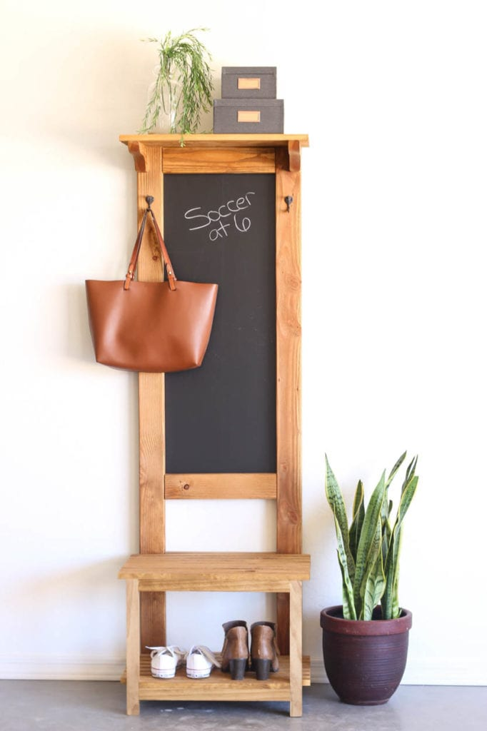 How To Build A Hall Tree With A Chalk Board Addicted 2 Diy
