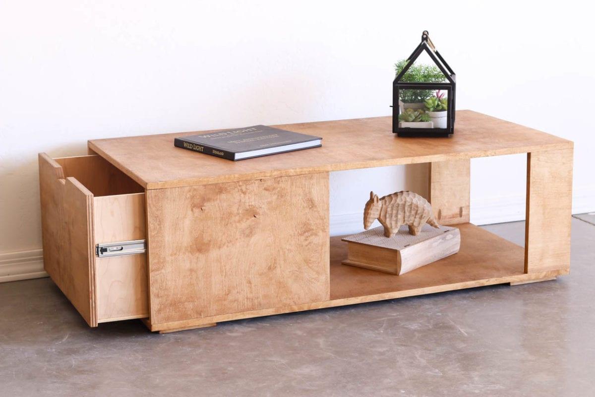 modern storage coffee table angle shot