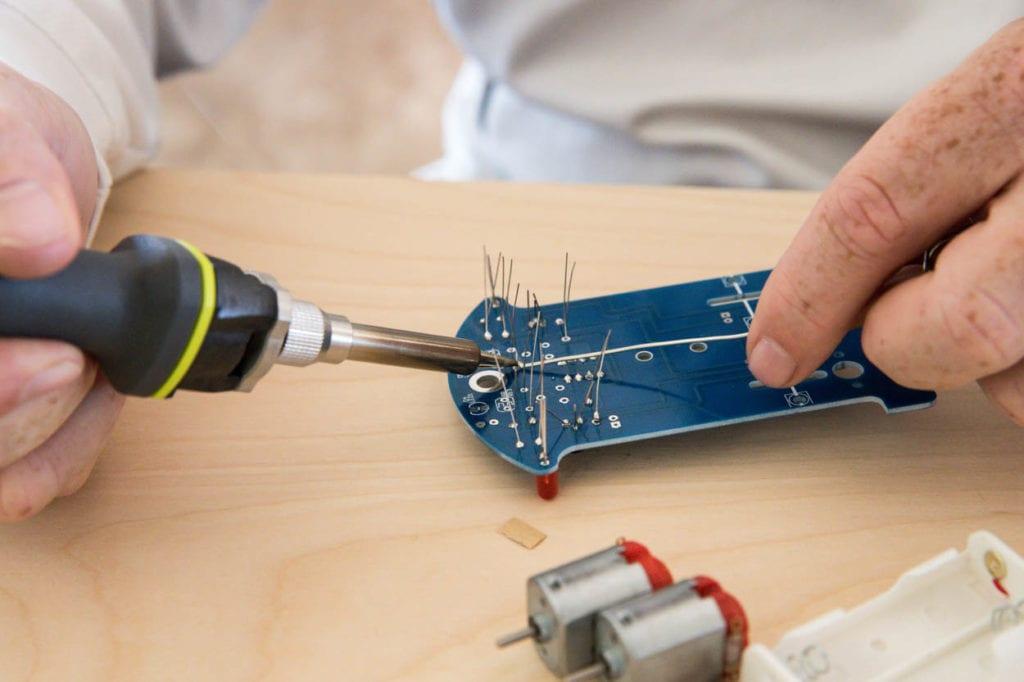 Melting solder on circuit board