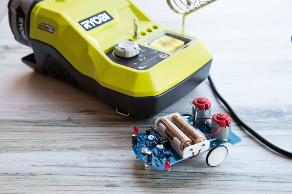 RYOBI soldering station with homemade smart car