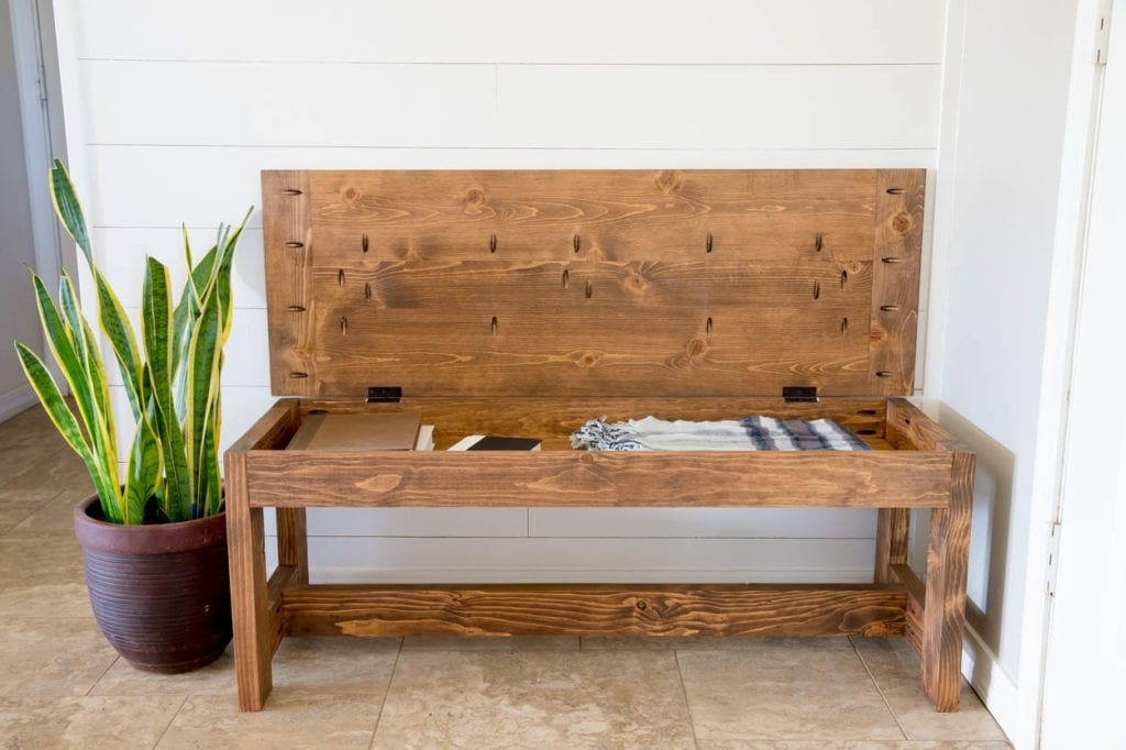 Picture of: How To Build A Farmhouse Bench With Storage Addicted 2 Diy