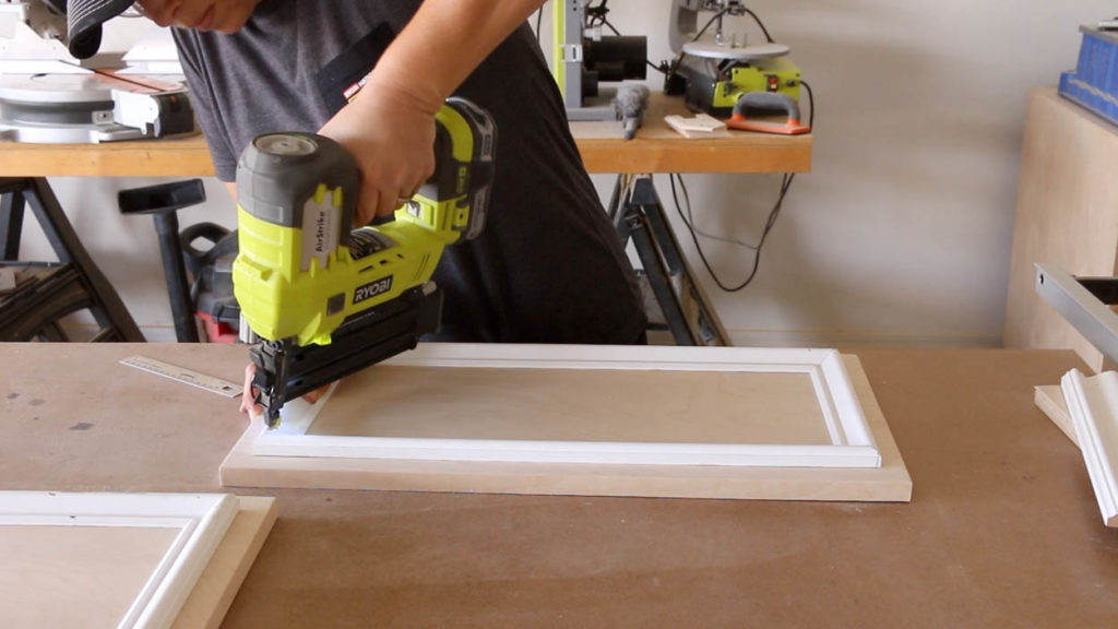 attaching trim to cabinet doors