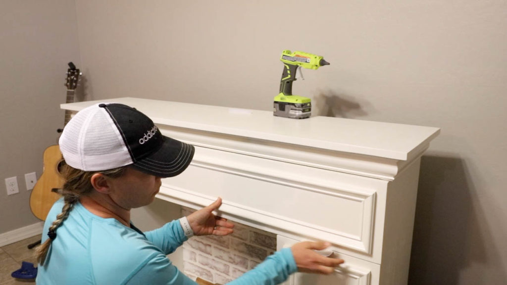 attaching drawer front with hot glue