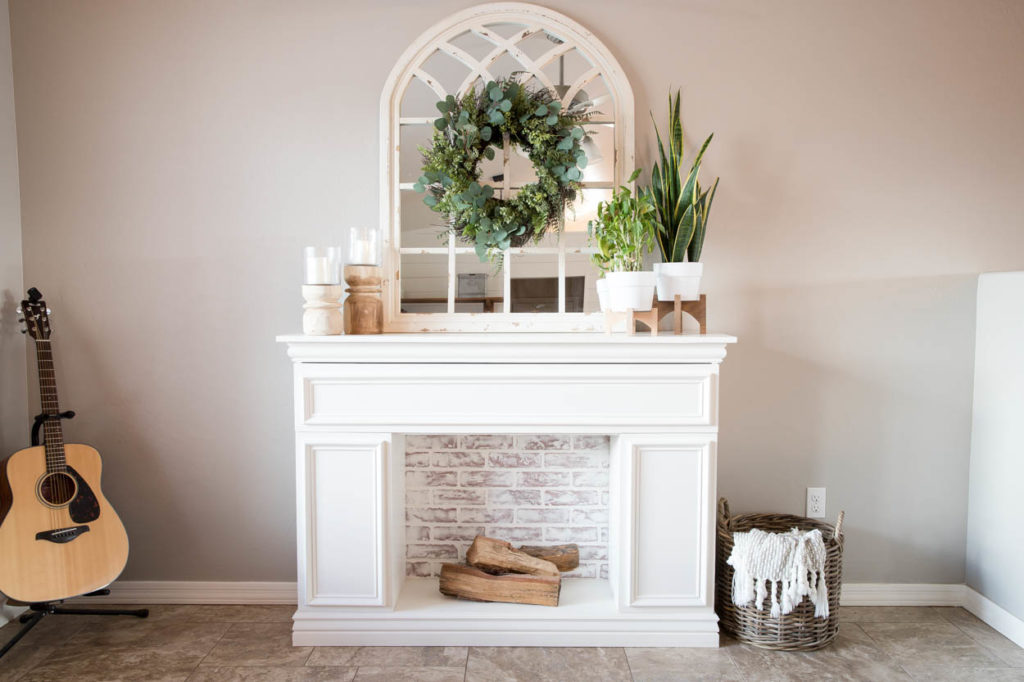 faux fireplace with faux brick