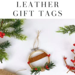 engraved leather gift tags pin
