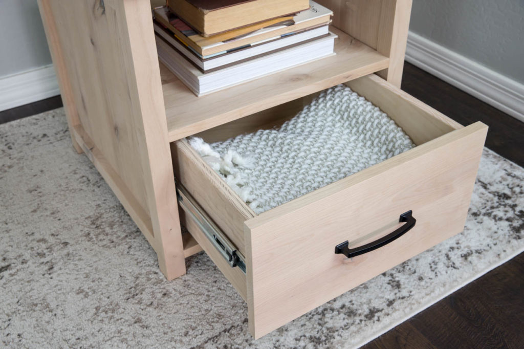 side table with drawer open