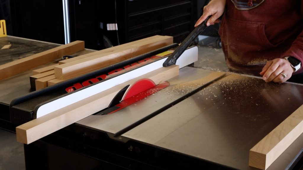 ripping wood down on table saw