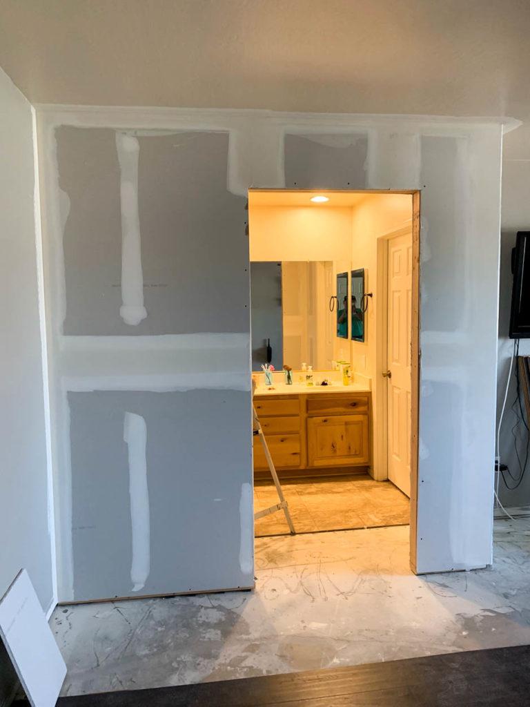 drywall on bathroom wall