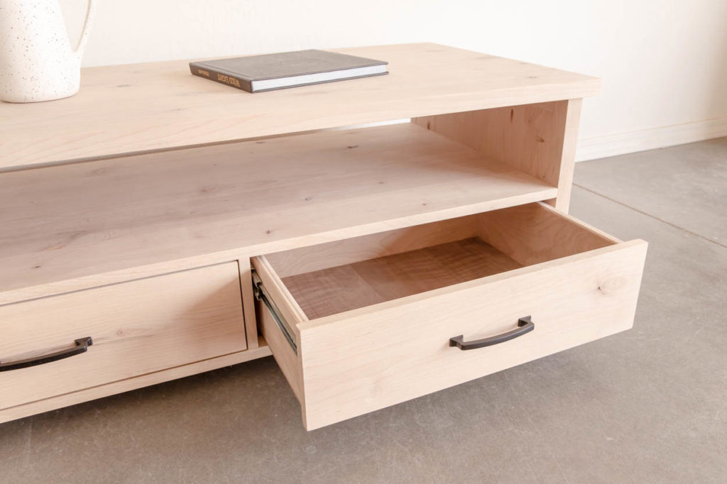 coffee table with drawer open