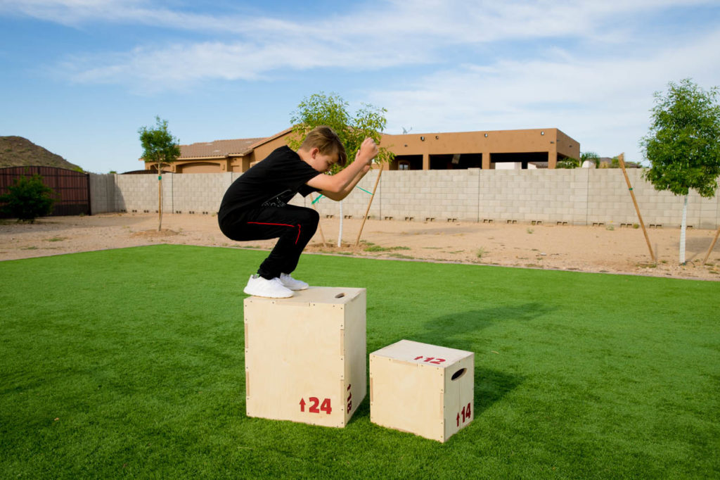 jumping on tall box