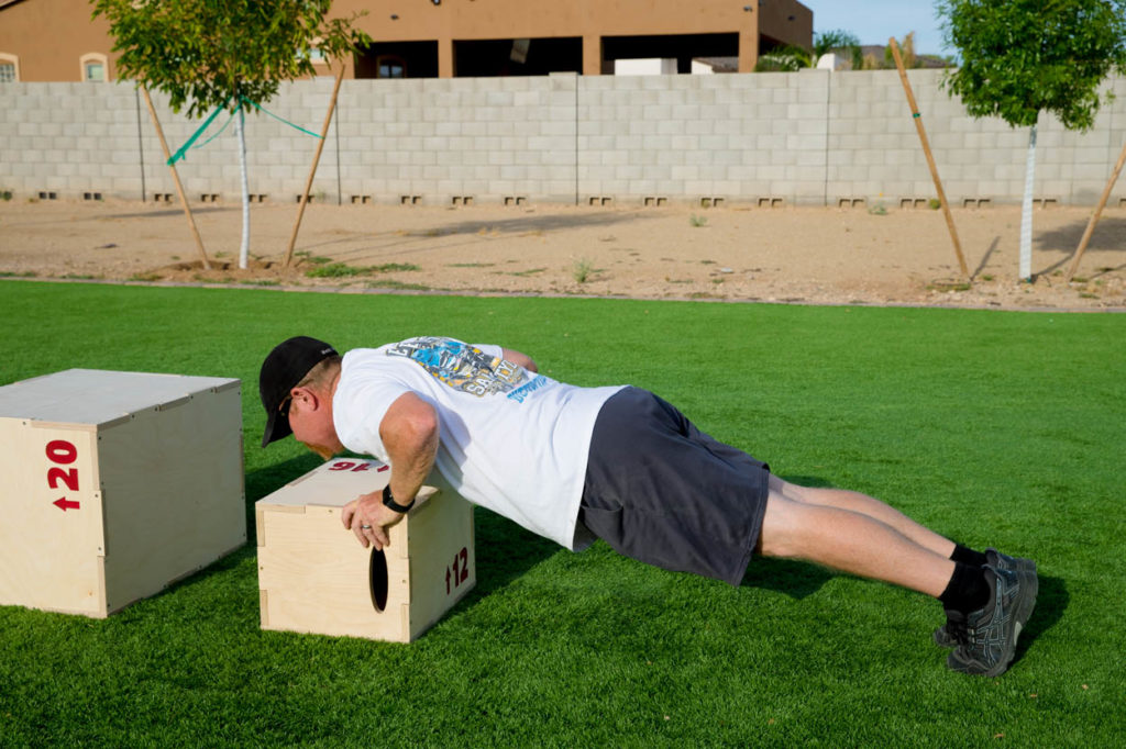 pushups on plyometric box