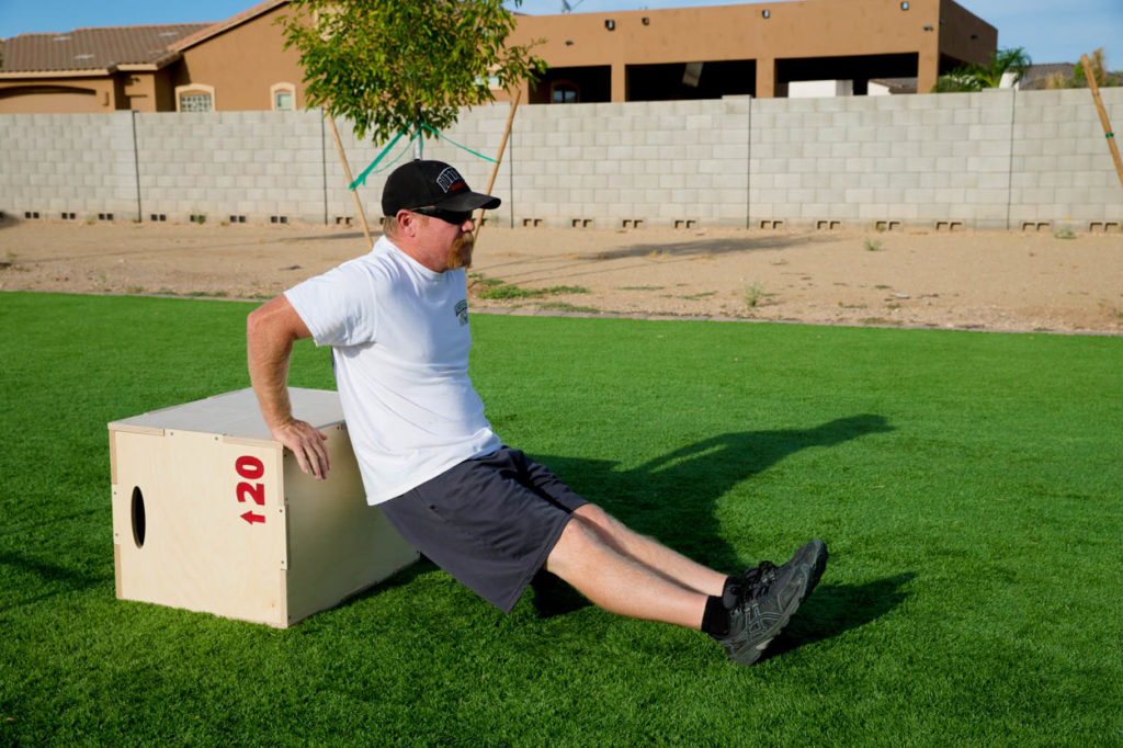 tricep dips on plyo box